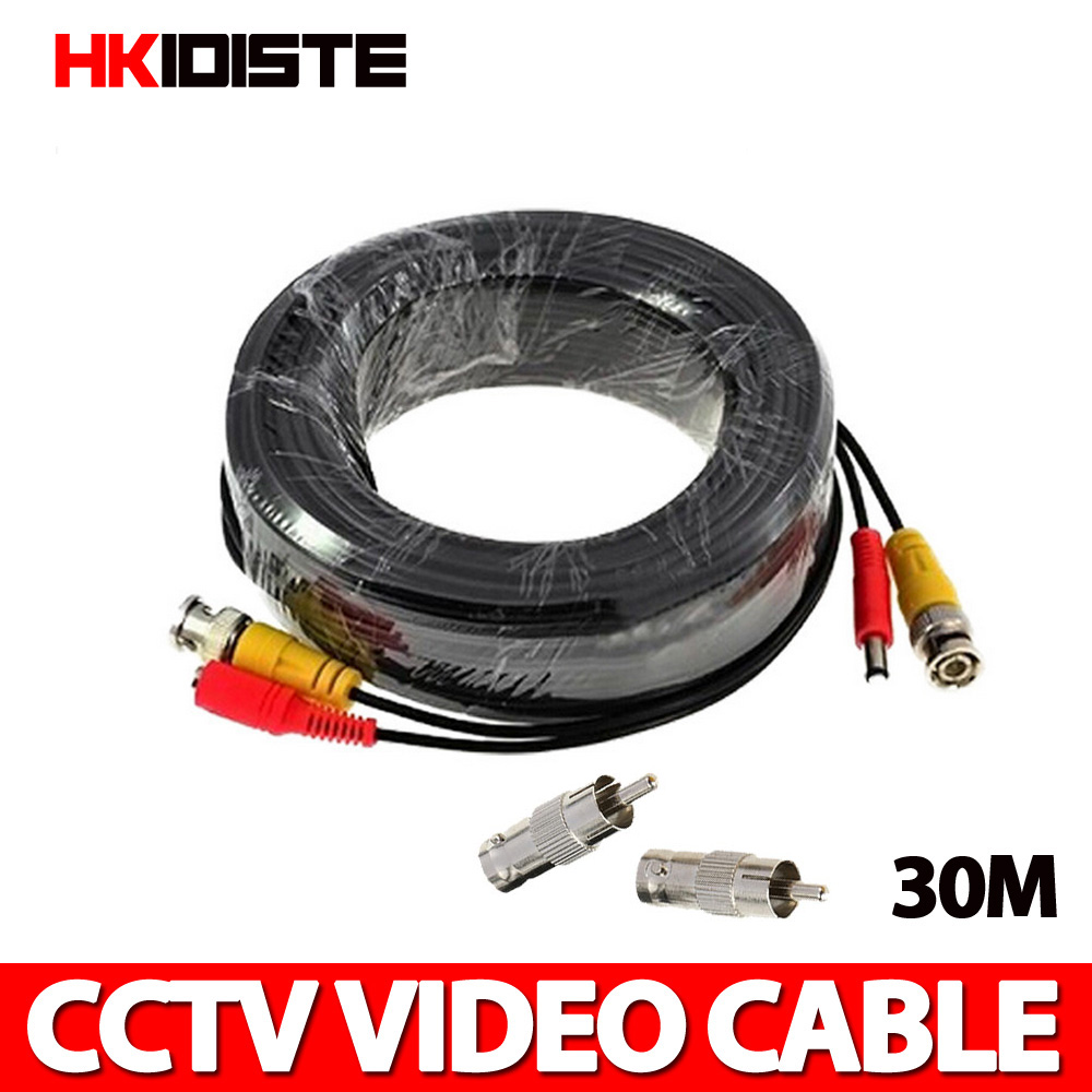 30M 100 Feet BNC Video Power Cable For CCTV AHD Camera DVR Security System Black Surveillance Accessories 10m security video bnc dc extension lead power cable for ahd cvi cctv surveillance camera dvr system dc power cable