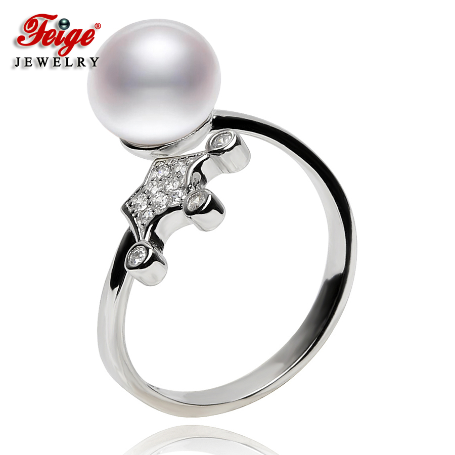 FEIGE 925 Sterling Silver Imperial crown Shaped Pearl Rings For Women 8-9mm White Natural Freshwater Pearl Ring Fine jewelryFEIGE 925 Sterling Silver Imperial crown Shaped Pearl Rings For Women 8-9mm White Natural Freshwater Pearl Ring Fine jewelry