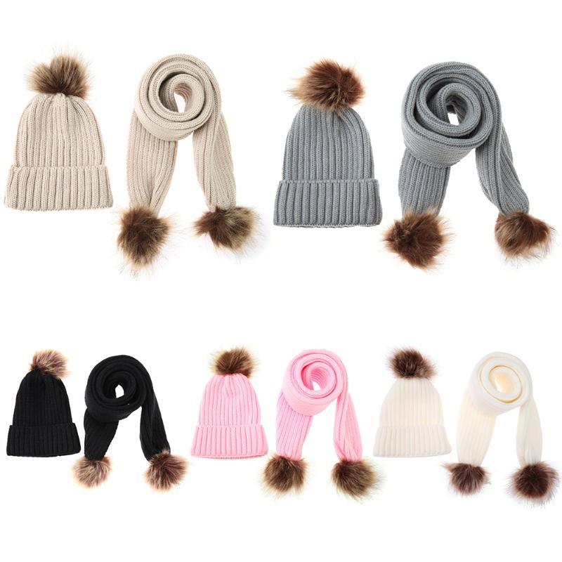 DIAMONDO 2pcs/Set Winter Warm Baby Hat Scarf Set Kids Cute Fur Ball Knitted Beanie Hat & Scarf Baby Lovely Crochet Girls Boy Hat