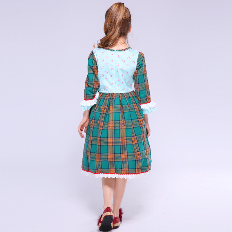 c812e40bdf8 Mottelee Girls Plaid Dress Lace Flower Kids Costumes Vintage Princess Tartan  Dresses Cotton Clothing Summer Frocks for Baby Girl-in Dresses from Mother  ...
