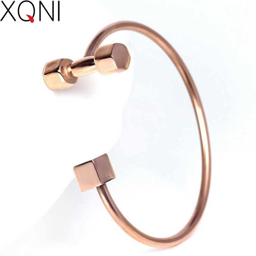 High Quality Classic Geometric Male Alloy Gold Color Charm Bangles Trendy Sporty Dumbbells Open Cuff Bangles