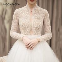 long half sleeve muslim lace wedding dress high quality 2018bride simple bridal gown real photo weddingdress vestido de noiva