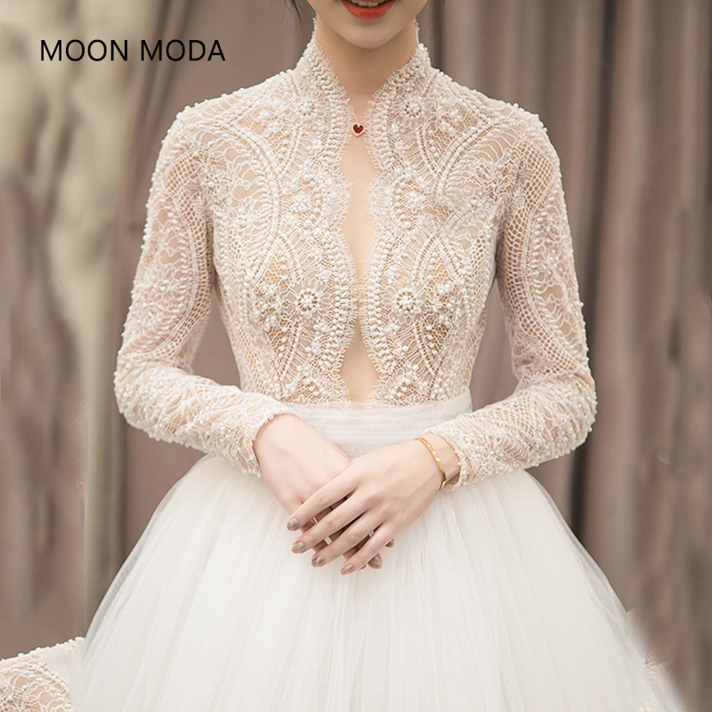 long half sleeve muslim lace wedding dress high quality 2017bride simple bridal gown real photo weddingdress vestido de noiva