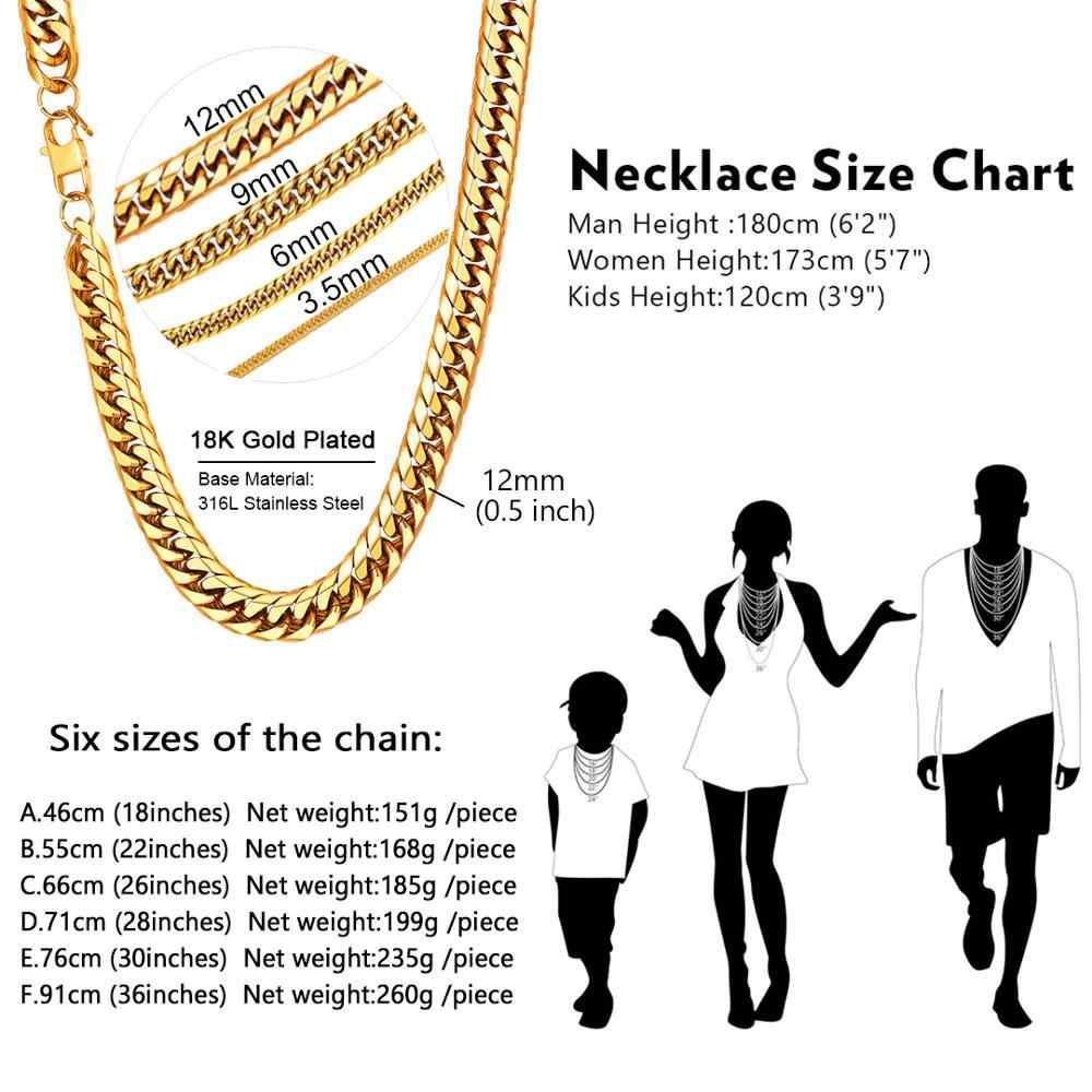 U7 naszyjniki dla mężczyzn Miami kubański Link złoty łańcuch Hip Hop biżuteria długie łańcuchy gruby stal nierdzewna duży masywny naszyjnik prezent N453