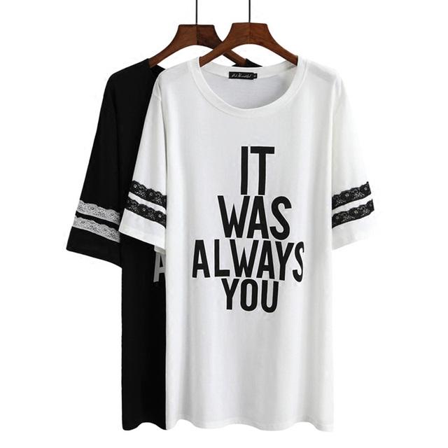 2016 Coreano plus size mulheres 5xl t gordura mm verão solto impressão t-shirt de manga curta-última base de saia mulheres Maternidade