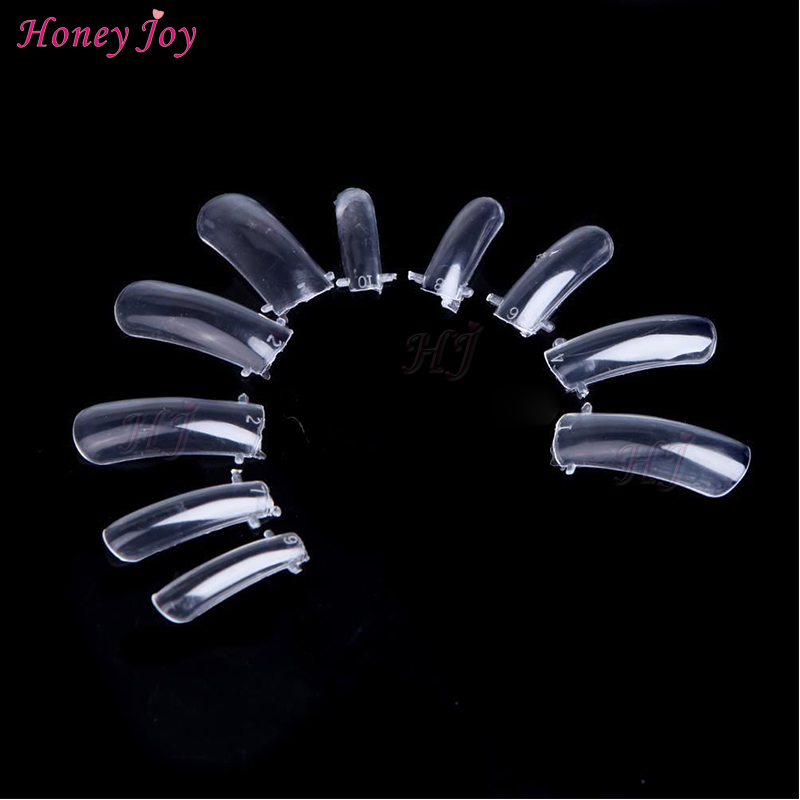 Pro 100pcs/set #0-#9 Size Reusable Acrylic Nails Mold Molding False Nails Tips Model w Two Front Bulges for Holding Clear
