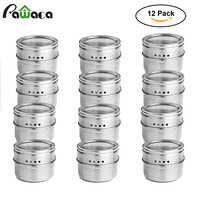 12pcs 6pcs Stainless Steel Spice Jars Set Cans For Herb Salt Pepper Spices Magnetic Spice Tins