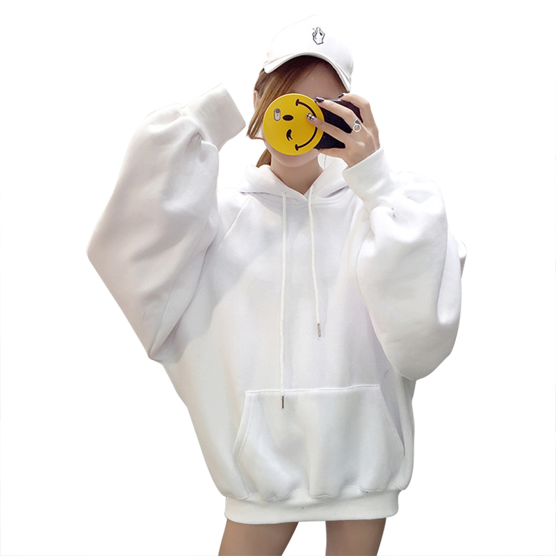 New Casual Loose Hoodies Fashion Women's Solid Color Jumper Hooded Long-sleeved Lantern Sleeve Pullover Sweatshirt Tops