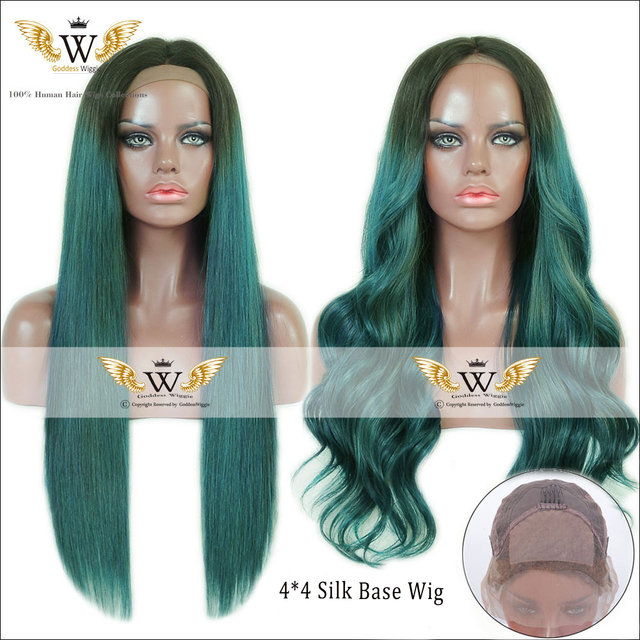 6A 200Density Blue Green Straight Human Hair Silk Base Full Lace Wigs With Baby Hair Ombre Lace Front Body Wavy Hair Wigs