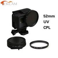 Tekcam para Gopro Héroe 5 52mm UV/CPL Circular Polarizador Filtros con protector de tapa del objetivo para Gopro hero5 hero6 Negro Accesorios