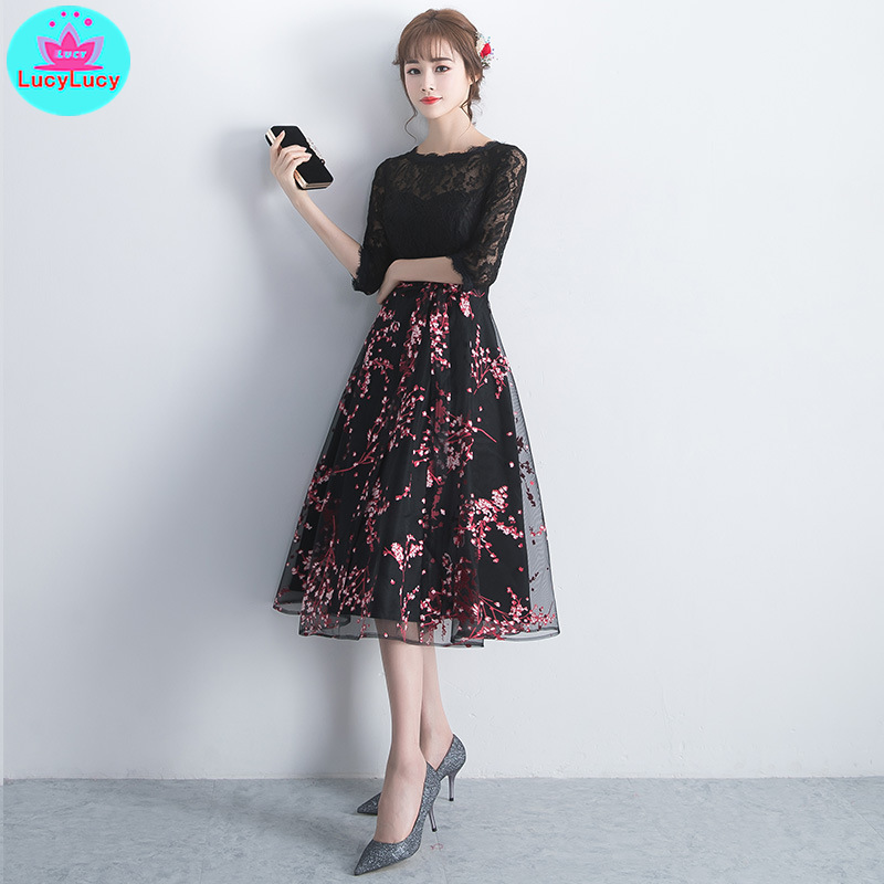 2019 new Korean version of the black long party party ladies dress female O Neck Half Print Sheath Office Lady Zippers in Dresses from Women 39 s Clothing