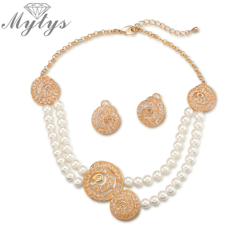 Mytys Double Pearl Chain Wire Mesh Crystal Jewelry Sets Necklace and Earring Sets Noble Jewelry for Women CN347
