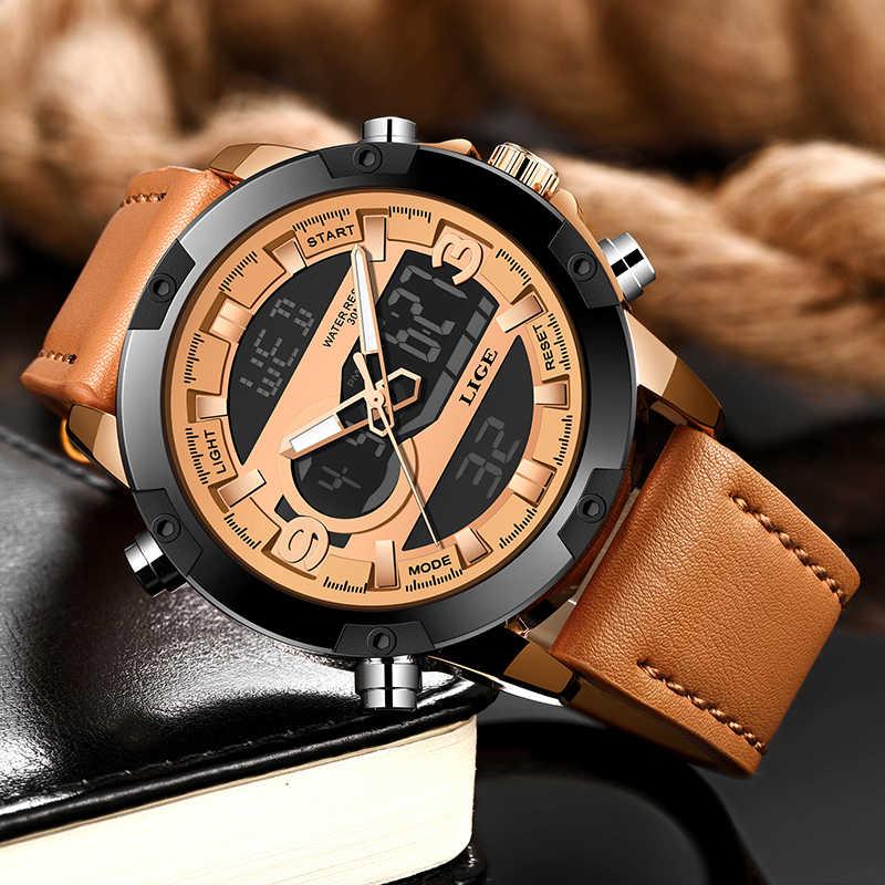 LIGE nuevo reloj de cuarzo deportivo LED para hombre, multifunción, resistente al agua, fecha luminosa, relojes de pulsera para hombre