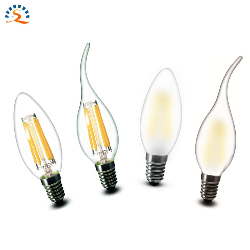 E14 COB LED Candle Lamp C35 B10 2w 4w 6w Flame Frosted LED Filament Bulb light 220v 230v AC Crystal chandelier light source