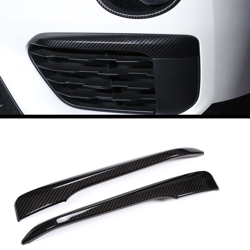 2pcs Carbon fiber Plastic Accessories for BMW New X1 F48 2016-2018 Front Fog Lamp Strips Trim Molding Car Styling