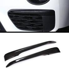 2 шт. углеродного волокна Пластик Интимные аксессуары для BMW новый x1 F48 2016-2018 передние противотуманные лампа полосы отделка под давлением автомобиля стиль