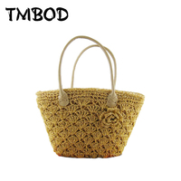 New 2016 Designer Straw Tote Floral Shopping Bag Lady Handbags Women Classical Beach Shoulder Bags For