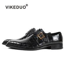Vikeduo/Новинка года; черные модные роскошные туфли ручной работы; свадебные Брендовые мужские туфли из натуральной крокодиловой кожи; мужские официальные модельные туфли