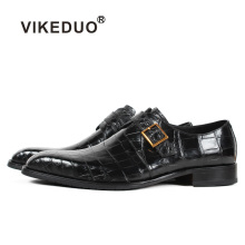 Vikeduo 2019 New Handmade Black Fashion Luxury Shoes Wedding Brand Male Genuine Crocodile Leather Mens Formal Patina Dress
