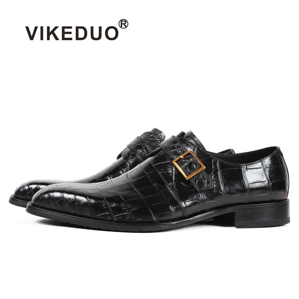 Vikeduo 2019 nouveau fait à la main noir mode luxe chaussures de mariage marque mâle véritable Crocodile en cuir hommes formelle patine robe chaussures