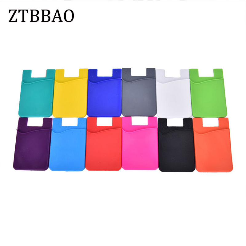 ZTBBAO 1PCS Fashion Adhesive Sticker Back Cover Card Holder Case Pouch For Cell Phone Colorful Card Holder