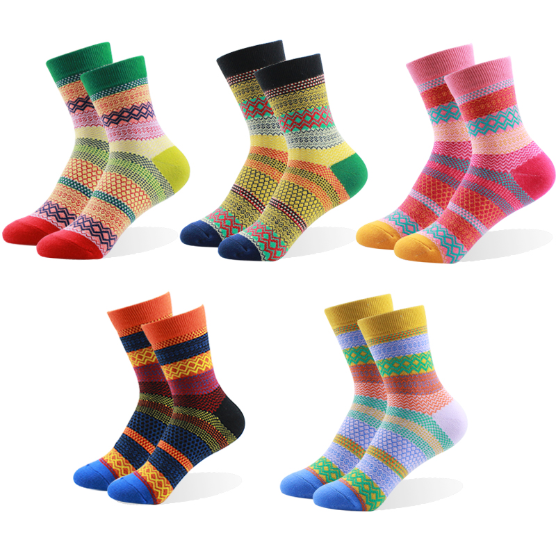100% Newest Brand Retro Nation Women Cotton Striped Multi-Color Fashion Casual Dress Women's Socks Nice Gift Good Quality