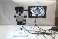 Trinocular Stereo Microscope 3.5X 90X Continuous Zoom Magnification 16MP HDMI USB Microscope Camera LED Lights 10 inch Monitor