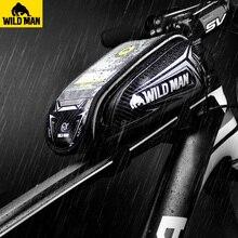 Дикий человек велосипед передней верхней трубы рамы сумка Велоспорт непромокаемые Сенсорный экран чехол для мобильного телефона Водонепроницаемый touch велосипед аксессуары