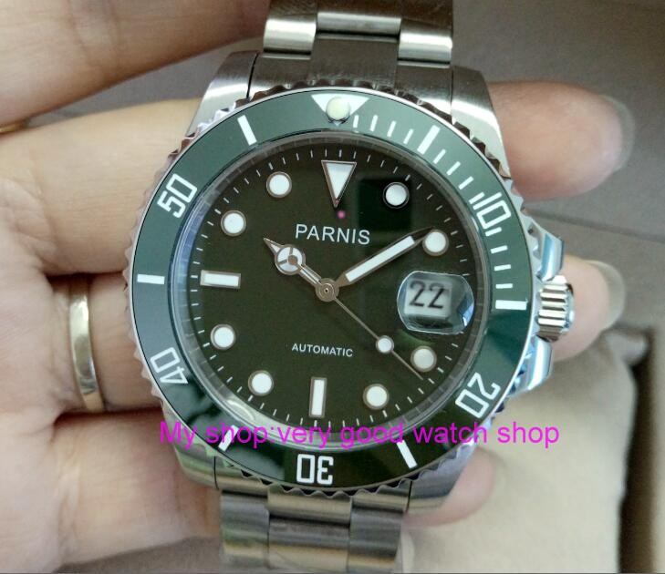 40mm PARNIS Sapphire Crystal Japanese Automatic machinery movement men's watch green rotateing Ceramic bezel 302a cd диск hugh laurie didn t it rain 1 cd