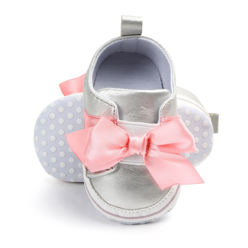 Spring Baby Girls Shoes Princess Newborn First Walkers Big Bow Cute Soft Soled Non-slip Footwear PU Baby Shoes