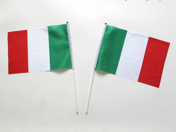free  shipping 14*21cm 100 PCS/ lot Promotion Wholesale Small Italy Hand flag Waving National Flag