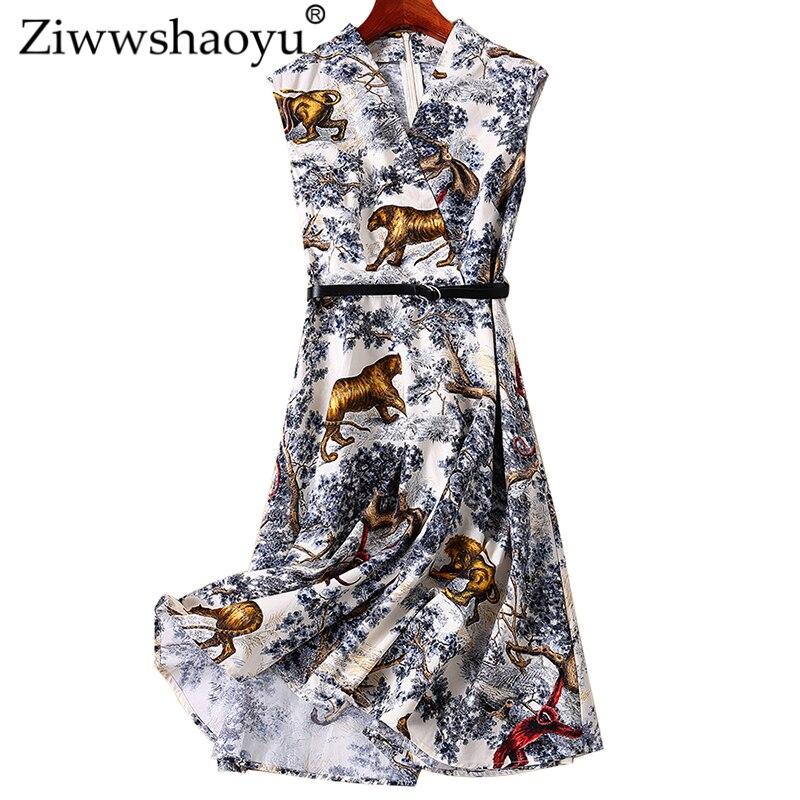 5e12ee09271505f Ziwwshaoyu модный принт платья с v-образным вырезом Пояса Империя большой  маятник Платье Весна и лето новые женские