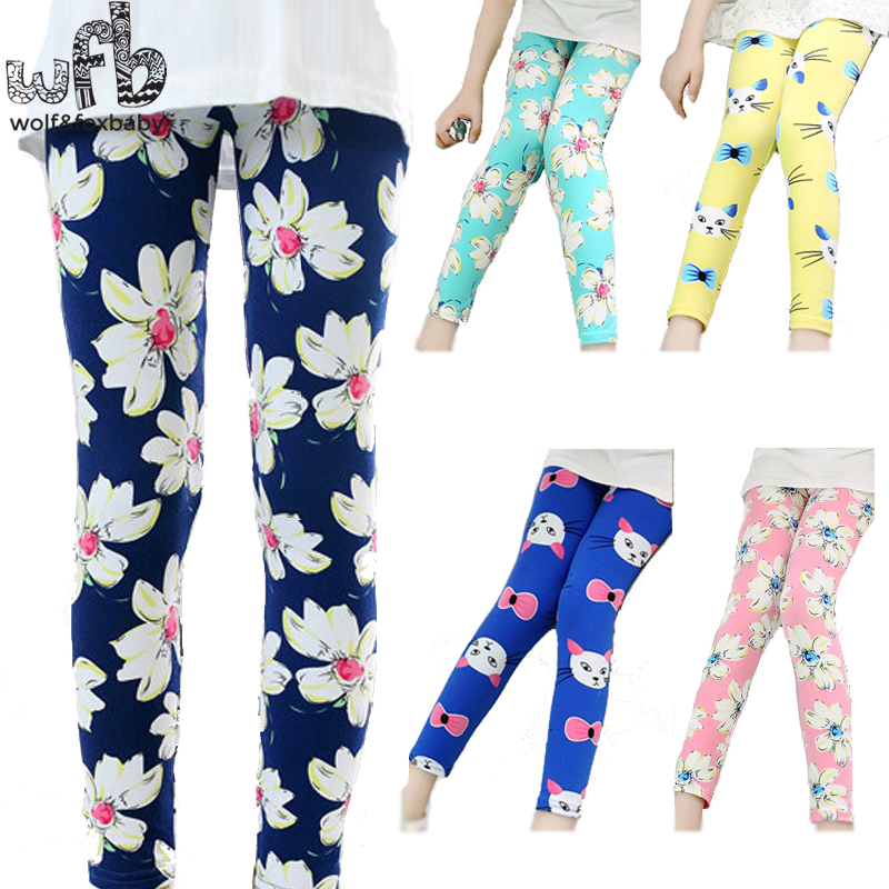 Retail 3-10years print footless girls ankle length   pants     capris   Cropped clothing kids leggings children summer cool