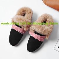 Yanicuding Korean Stylish Women Winter Shoes Butterfly Knot Decor Fur Design Warm Slipper Star Runway Shoes