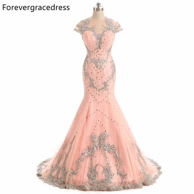 Forevergracedress Original Photo Cap Sleeve Prom Dress New Fashion Mermaid Beaded Crystals Long Formal Party Gown Plus Size