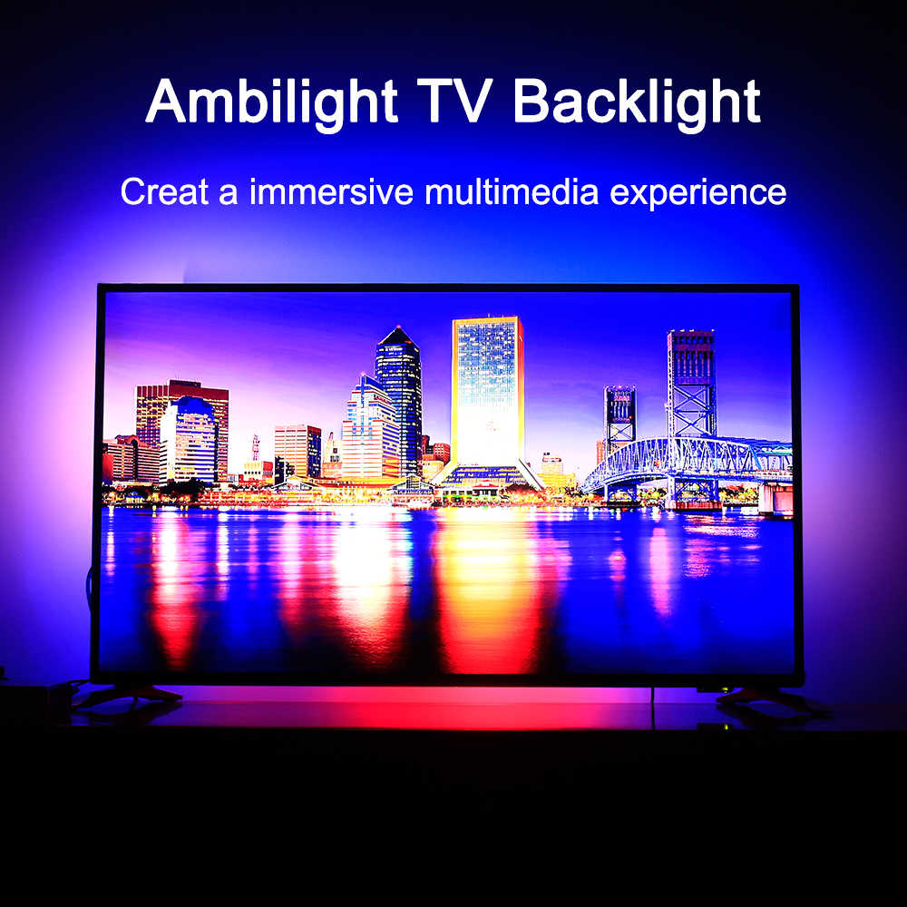 Ambilight TV retroiluminación LED Flexible cinta ligera RGB Color cambiante TV iluminación de fondo 4K HDTV TV HDMI fuentes Kit