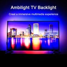 Ambilight telewizor z dostępem do kanałów podświetlenie elastyczne LED taśma oświetlająca wstążka kolor RGB zmienny oświetlenie tła do TV HDTV TV HDMI źródeł zestaw