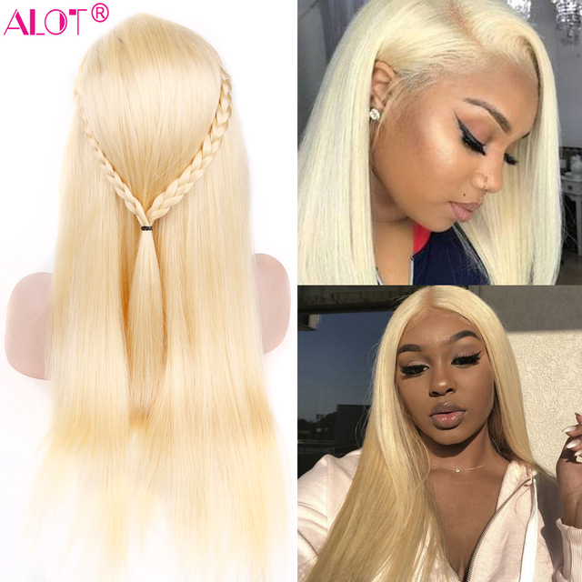 613 Blonde Lace Front Wig Brazilian Straight 13x4 Lace Front Human Hair Wigs Pre Plucked Baby Hair Remy Glueless 613 Lace Wigs 4
