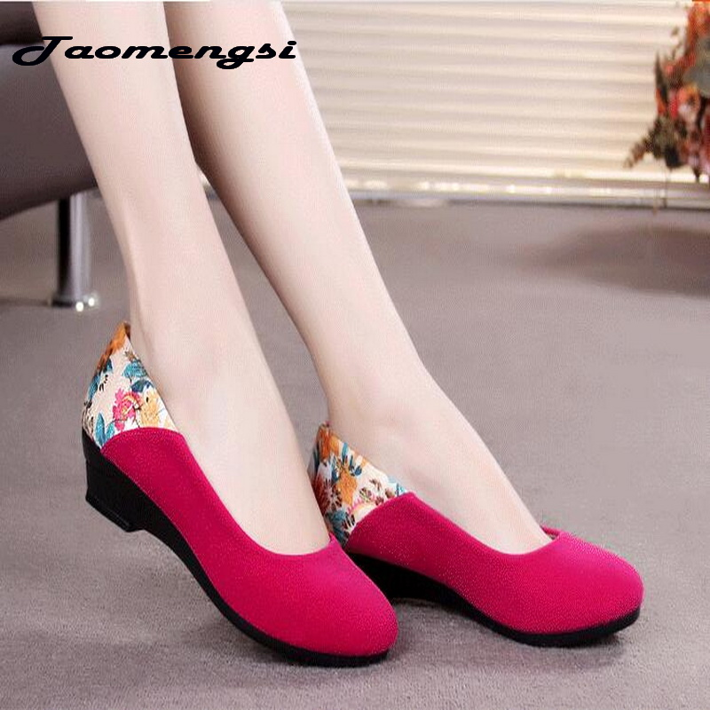 Taomengsi New cloth shoes Ms single shoes Middle-aged comfortable Low-heeled Work shoes Fashion Soft bottom Casual shoes aiyuqi 2018 new spring genuine leather female comfortable shoes bow commuter casual low heeled mother shoes woeme