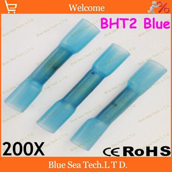 200 шт./лот BHT2 синий термоусадочный стыковой разъемы и сращивания для 1,5-2.5mm2, 16-14 AWG провода хорошее качество