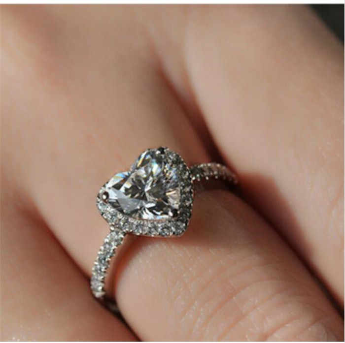 Reale 925 Silver Ring per le Donne di Lusso Dei Monili di Cuore Romantico 2 Carati CZ sona Diamante di Fidanzamento Anello di Cerimonia Nuziale regalo di formato 5-10