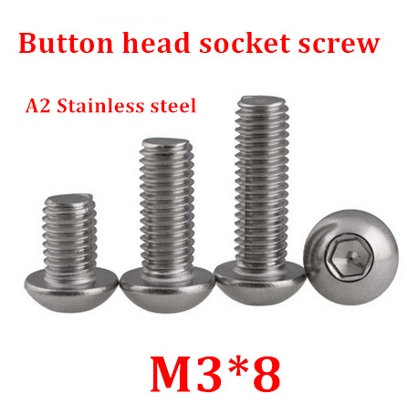 100pcs/lot M3*8 Bolt A2-70 ISO7380 Button Head Socket Screw/Bolt SUS304 Stainless Steel <font><b>M3X8mm</b></font> image