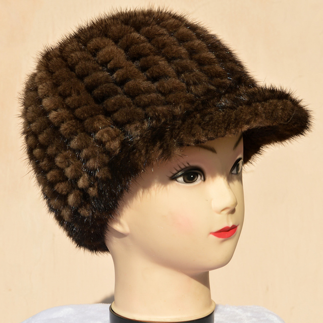 Mink fur hat Male and female mink knitted peaked cap in autumn and winter warm fashion style hat thickening A hat with a brim