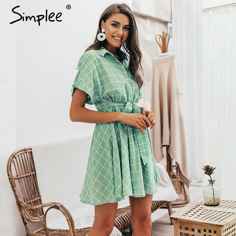 Image 3 - Simplee Elegant plaid sashes women dress Short sleeve A line casual streetwear female short dress Button summer dress 2019Dresses   -