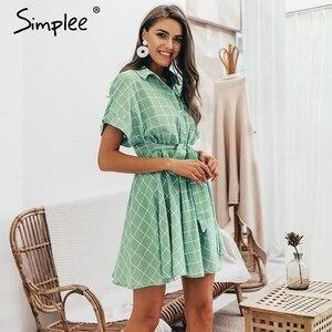 Image 3 - Simplee Thanh Lịch Kẻ Sọc Tất Nữ Tay Ngắn Chữ A Cổ Dạo Phố Nữ Đầm Ngắn Nút Mùa Hè 2019