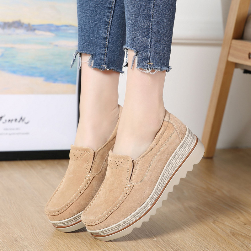 2019 Spring Women Flats Shoes Platform Sneakers Slip On Flats   Leather     Suede   Ladies Loafers Moccasins Casual Shoes Women Creepers