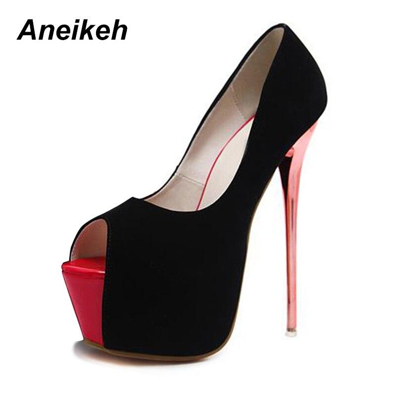 163caf652 16 cm Aneikeh 2018 Sexy Sapatos de Salto Alto Peep Toe Mulheres Bombas  sapatos de Casamento Boate Bombas de Festa Vestido Sapatos Tamanho 34 40  258 103 # em ...