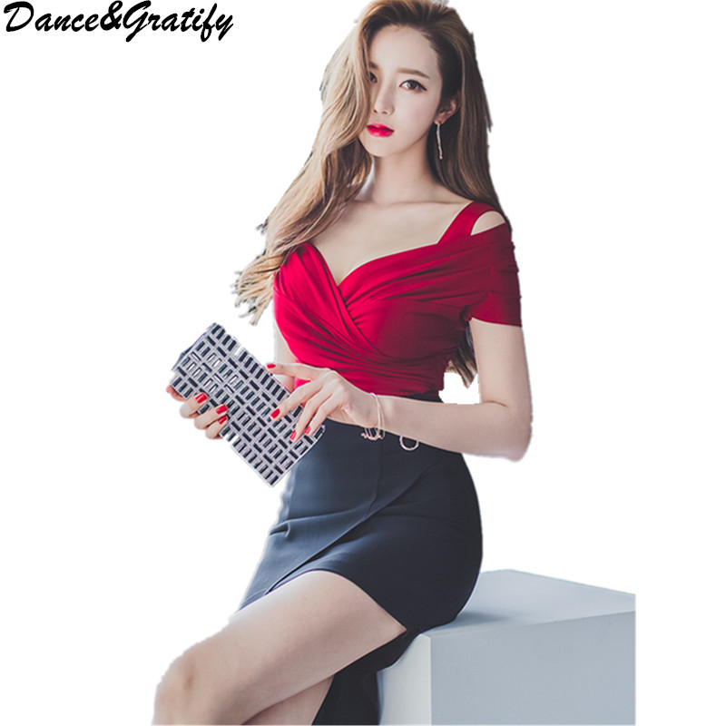 Fashion 2 Piece Set Women 2018 New Sexy V-neck Blouses + Long Slim Bodycon Pencil Skirt Ladies Office Work Suit