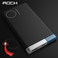 Rock Power Bank 10000mah 5000Mah Fast Charger With Dual Input Ports Powerbank For Iphone Xiaomi Huawei
