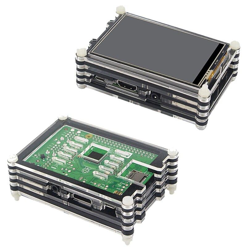 Original Raspberry Pi 3 Modelo B + Plus UK hecho Kit pulgadas pantalla táctil de 3,5 + carcasa + potencia + 32 GB SD + HDMI + disipador térmico + Cable USB - 5